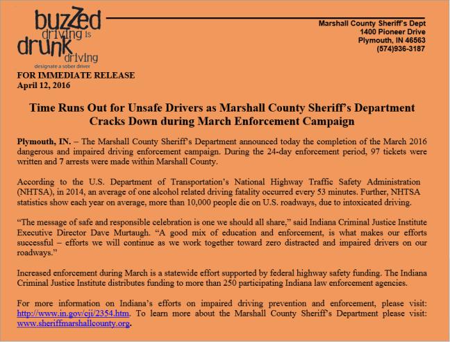 March Enforcement Campaign News Release