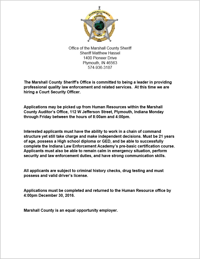 Marshall county hiring court security officer sheriff of marshall county hiring court security officer sheriff of marshall county indiana 1betcityfo Gallery