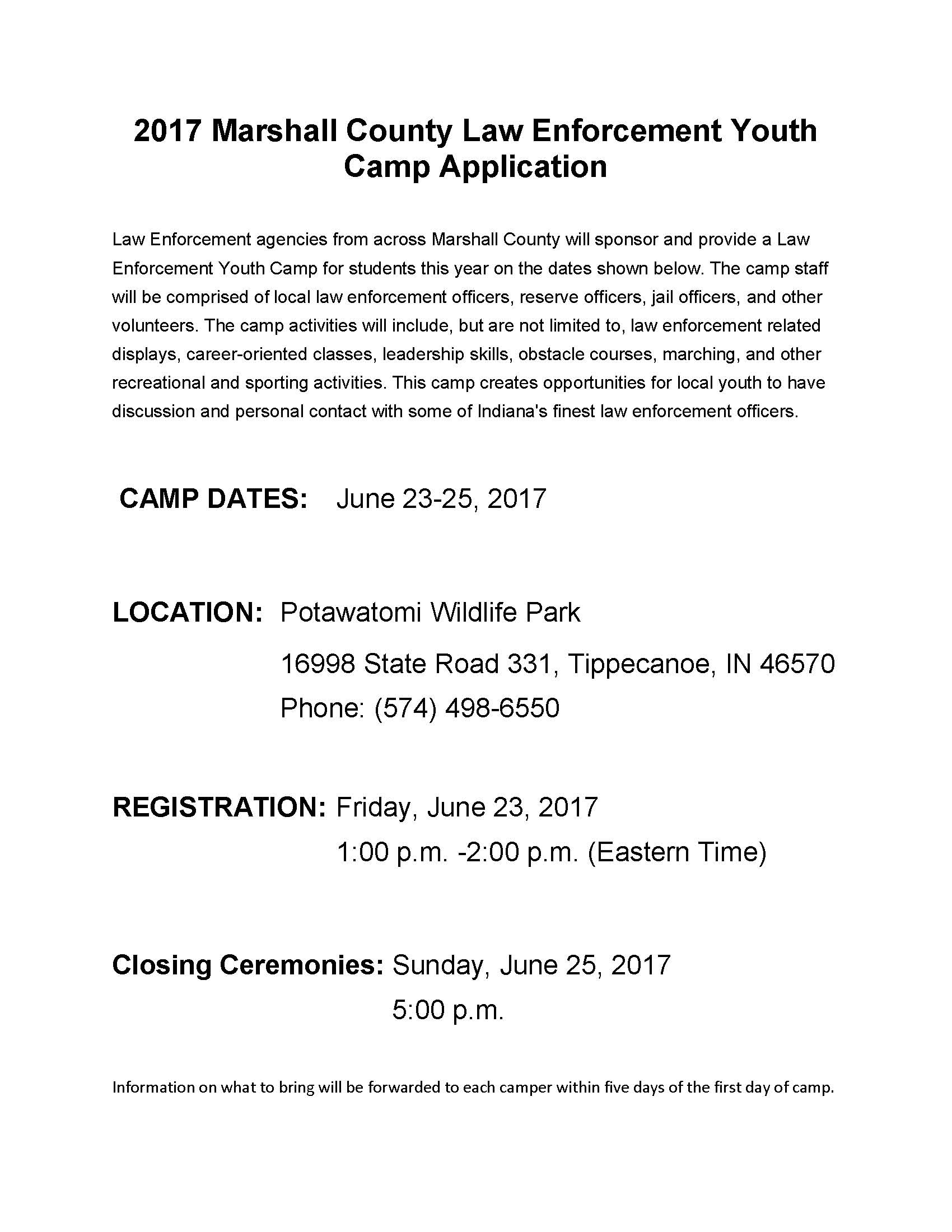 Indiana marshall county tippecanoe - Sheriff Announces 2017 Law Enforcement Camp Sheriff Of Marshall County Indiana