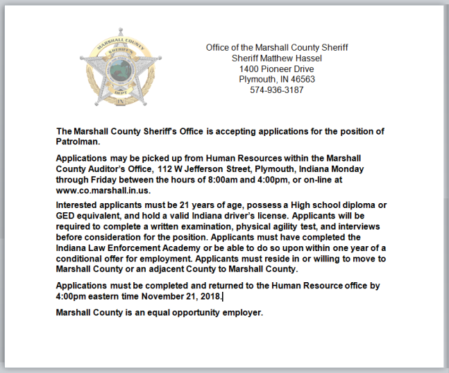 Patrolman Job Posting 10-25-18