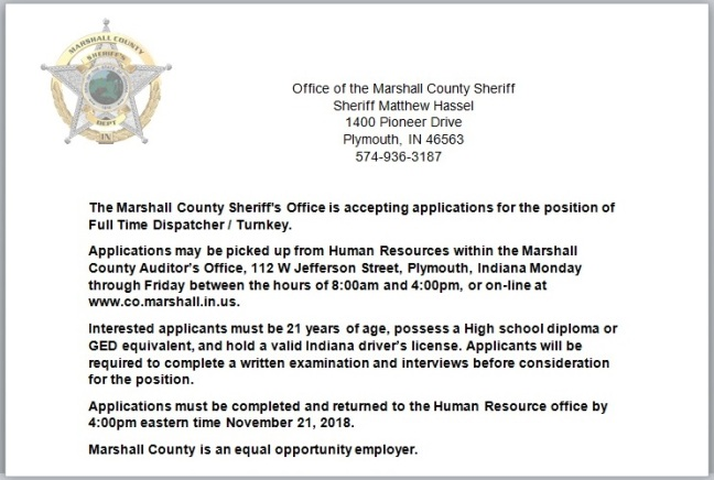 Job Opening 11-1-18